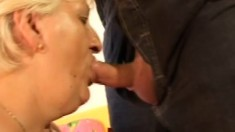 Fat old granny bitch gets a reluctant construction worker to fuck her