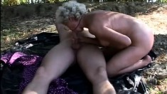 Lusty granny knows how to service a cock and loves doing it outdoors