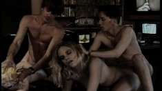 Insatiable young blonde makes the most of her time with two horny guys