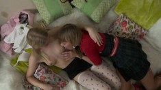 Two fresh blondes undress each other and have anal with double dildo