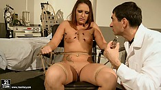 She gets her tits clipped, then all over and he uses tools on her