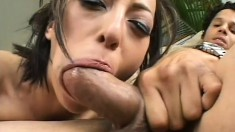 Supreme whore with long dark hair is fucked in mouth and butt