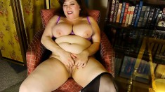 Curvy milf in sexy black nylons Rubee feeds her lust for masturbation
