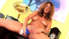 Inviting brunette cougar Yvette finds intense pleasure in a vibrator