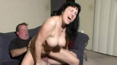 Voluptuous amateur gets pounded from behind and rides a huge cock