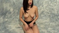 Tanya Kwan exposes her big natural boobs and her tight hairy peach