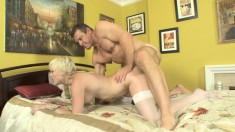 Blonde babe Nora Sky gets into some one-on-one fun with a hung dude