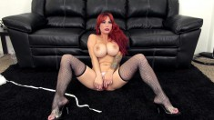 Busty redhead MILF knows what to do with her mouth and damp hole