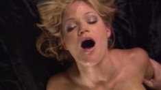 Beautiful blonde getting her wet peach devoured and fucked on the bed
