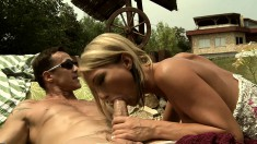 Stacked blonde wife seduces her neighbor to satisfy her anal desires