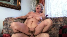 Fat granny Lady Bella picks up a young dick to take home and fuck