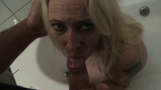 Seductive blonde mommy with a lovely ass gets pounded good POV style