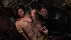 Dirty brunette gets tied up and has her tight twat stretched with a dildo