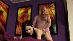 Skinny Young Babe Moans While Having Her Pussy Worked By This Bald Hunk
