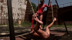 Kinky blonde broad loves being groped by a dominating brunette