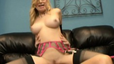 Bodacious blonde slut in black stockings Aiden Starr rides a long dick