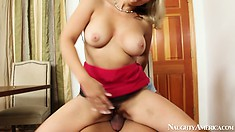 Chubby blonde slut licks her lover's shaft and balls and rides him