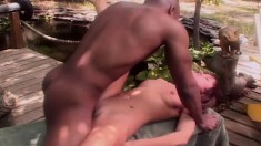 Petite girl with perky boobs feeds her hungry holes a long black dick