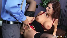 Mommy loves big shafts in her pussy and between her massive tits
