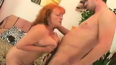 Big Breasted Redhead Granny In Black Stockings Orgasms On A Stiff Cock
