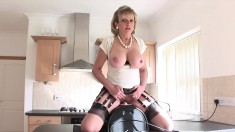 Big Breasted Housewife Rides The Sybian And Relishes Intense Pleasure