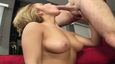Horny Andrew Andretti offers Lorena Sanchez a hard fucking on the sofa