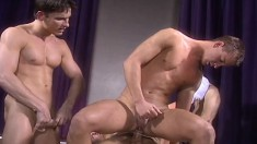 Vince Bandero, Cameron Fox, Nick Steel, Jeremy Jordan and Travis Wade get it on