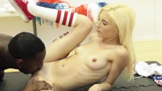 Petite blonde with lovely titties surrenders her pussy to a black bull