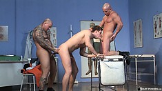 Two horny guys have a third sucking their dicks and satisfying their desires