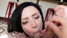 Sensuous brunette brings her boyfriend's long shaft to orgasm in POV