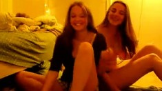 Teen Lesbian Couple Playing On Web Cam