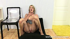 She rubs her cunny bent over, lying down and sitting while getting wet