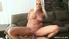 MILF sitter gets her wish and gets banged hard with a mouthful of cum