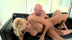 Slutty blonde with huge hooters spreads her legs wide for his cock