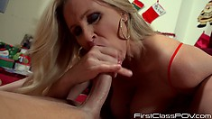 Big tit blonde Julia Ann nibbles on his long stiffy and sucks his juice