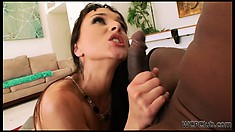 Chubby white bitch in a corset gets pounded raw by a black cock