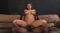 She gets drilled from behind and then gets on to ride in his lap