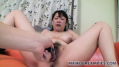 Fat asian slut gets dildoed a bit before she deep-throats her man