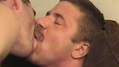 Gays in an action packed threesome chomping cock and banging ass