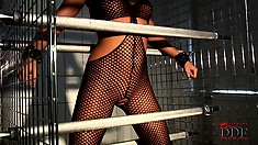 Natalia Forrest gets fucked by a machine while bound in a cage