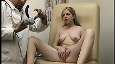 Busty coed gets some much needed orgasm therapy from her doc