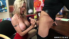 Stunning blonde with huge tits can't wait to have some sex action