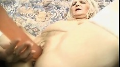 Horny granny Budai is desperate for lesbian pussy-drilling action