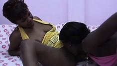 Bodacious ebony hotties handle the lesbian pussy licking like porn pros