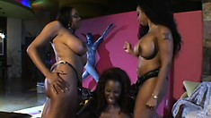 Black lesbian threesome goes from hot and sexy to kinky toy playing