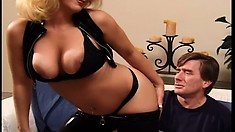 Stacked blonde cougar Adajja is desperate to receive a hard cock deep in her ass