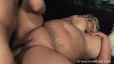 Lucky guy puts his bulging dick between blonde Kacey's luscious tits