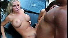 Ashley Blue and friend like cars and cocks and use his dick-shift