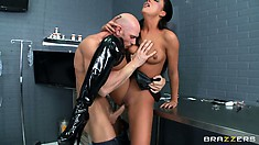 Astounding bitch in leather high-heel shoes is banged hard by Johnny himself