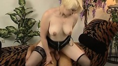 Pale white blonde college girl in lingerie wants to get pounded hard